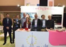 Etienne Malaguti of Prim'land, Daniel Soares of Interfel, Pascal Marrocq of Blue Whale, Pauline Lafitte of Prim'land, Marc Rauffet of Groupe Innatis, Christophe Artero of FDA International and Chef Charles Soussin at the French Interfel booth.