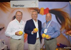 Jimmy Johnson, Tom Jerkins and Greg Drouillard with Premier Citrus out of Vero Beach, FL proudly show the company's new Natural Light labeling option.