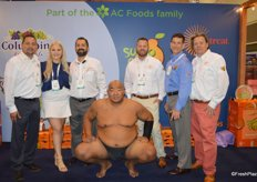 Four time world champion sumo wrestler Byamba visiting the booth of Suntreat and promoting Sumo Citrus together with the Suntreat team.