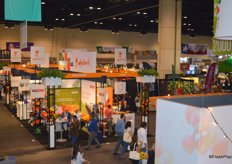 View of the Holland pavilion from the top floor of the California Avocado Commission booth.