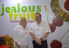 Julie McLachlan and David Geen with Jealous Fruits were busy talking about Canadian cherries.