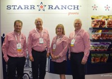 The team of Starr Ranch Growers proudly stands in front of the new booth and promotes the company's rebrand. From left to right: Brent Shammo, David Garcia, Michele Peters and Dan Wohlford.
