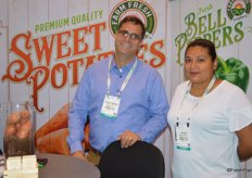Steven Ceccarelli and Diana Ramirez with Farm Fresh Produce talk to show attendees about sweet potatoes. Right after Fresh Summit, the team was off to Madrid for Fruit Attraction.