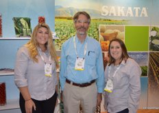 Alicia Suits, Cory Dombrowski and Jiana Escobar with Sakata Seed America.