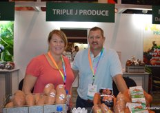 Kristi and Joey Hocutt with Triple J Produce, grower and shipper of sweet potatoes in North Carolina.
