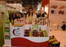 Fruit-Group's office manager Emilia Lewandowska, displaying various Polish apples and apple juice. They export their apples in big volumes to Germany, but also export to other countries in Europe, the Middle East, Egypt and India.