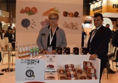 Magdalena Wrotek-Figarska from Jablka Grojeckie displaying their Polish apples and juices. They even created an energy drink made with their apples.