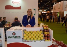 Monika Pluta, the sales director for Ewa-Bis. She was promoting their apples from Poland.