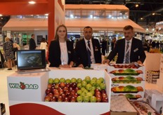 Dominika Koc (left), Andrzej Ciara (Middle) and Szymon Koc, promoting the various apples from their company Wil-Sad. Their apples are exported mostly to Europe.