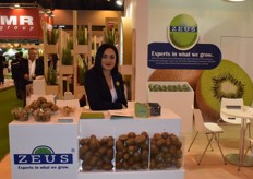 Zeus' executive manager Christina Manossis displaying their kiwifruit from Greece. 40% of their total production is going to the United Kingdom alone. About 20% of their kiwis are exported to the rest of Europe, with the remaining 40% going overseas to countries like China, the United States and Chile.