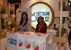 Tonia Nikolaidou (left) and Lila Anastasiadou from Freskon, promoting their event Freskon Greece, that will take place from April 11 to 13.