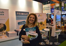 Konstantina Bouman of Greek Fruits, visiting the FreshPlaza/Primeur stand.