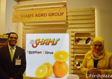Amr Gamal (Commercial Consultant) and Sumaya Ali (Executive Manager) from Al Shams Agro Group. They are a renowned producer, marketer and exporter of fresh fruit and vegetable, fruit pulp, puree and concentrates.