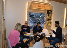 Hisham Elmeleigy from Blue Nile with his team in a meeting with a client. They focus on growing, packing and exporting of fresh fruit and vegetables from Egypt.