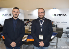 Giorgio Panagopoulos (Production Manager) and Giorgios Pavlopoulos (Sales Department) from Olimpias S.A. Olimpias S.A. designs and constructs machines for the sorting-sizing-packaging procedure of fruits & vegetables.