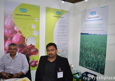 Danish Shah and Jital Shah from Sanghar Export. They export Indian onion, potato and garlic, oilseeds, spices, grains and pulses.