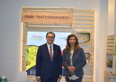 "Dr Amr Hassanein, chairman and May Salem, Managing director for FinBi for Land Reclamation & Agricultural development. They specialise in pomegranates and grapes, hence the brand ""Nates'NGrapes""."