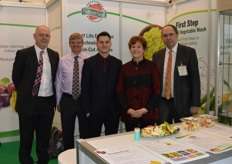 Paul Ward, Simon Matthews, Graig Edwards, Karen Murphy and Alan McGregor at the Nature Seal Agri Coat stand.