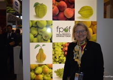 Marlette Kellerman on had for the 9th year at the stand of the South African Fresh Produce Exporter's Forum.