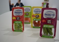 A new snack range from G's to be launched in June - Fresh snack vegetables with creamy Philadelphia cheese dip.
