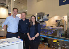 Packaging Automation brought along a high speed packing machine which can pack 200 packs per minute. Pierre Hagenaars, John Dunbell and Claire Carless.