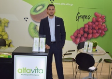 Chatsios Sokratis from Alfa Vita. The Greek exporters were promoting their kiwis and grapes.