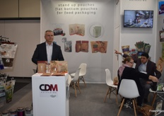 Krysztof Janiak, CEO of CDM Packaging. The company was showcasing their new flat bottom pouches.
