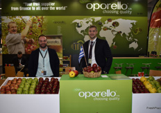 Apostolis and Zacharis and Ioannis Kaltsonidis from Oporello, a Greek exporter that was showcasing their apples.