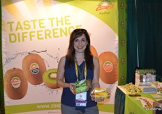 Debbie Rogers with Zespri proudly shows the company's new packaging for Green and Sungold kiwifruit. The new packaging will be launched in the US when the New Zealand kiwifruit season starts in May.