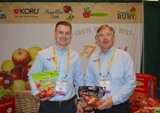 Eric Martinson and Jay Dyer with Chelan Fresh show Rockit apples and Koru.