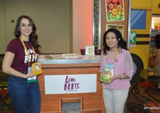 Rachel Brown and Lauren Del Rosario with Love Beets show some of the companys latest products, including Golden Beet-O de Gallo.