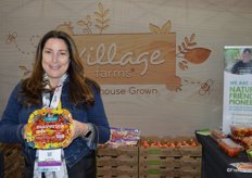 Helen Aquino with Village Farms shows new graphics for large pack sizes.