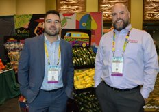 Pedro Balderrama and Josh Acuna with SunFed are standing in front of an organic display. The company is building its organic program.