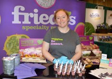 Frieda's serves stokes purple sweet potato dessert bars.