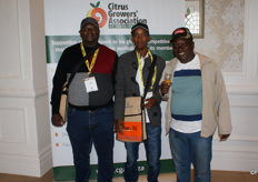 Salthiel Ramatlakana (Rentshitswe Projects) and Dennis Mogashane and Isaac Moilwa of the Batlhako Femo community, Brits.