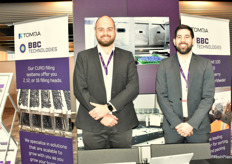 Joshua Miers-Jones and Nick Hall promoting the BBC Technologies' blueberry sorting machines.