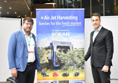 Janko Jevtic and Marko Kokanovic at the KOKAN stand. The company has produced a berry harvester which harvests the fruit using air jets.