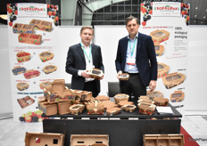 Adam Sikorski and Witold Gaj from SoFruPak with a range of totally recyclable cardboard packing.