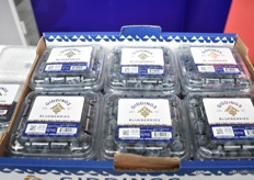 Giddings Blueberries showing the new gold bee logo designed for the Asian market.