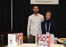 Amro and Mai Yassin from Stars of Export promoting the garlic from Egypt for the Canadian market
