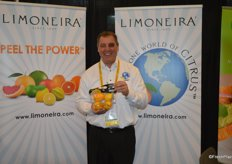 John Caragliano with Limoneira proudly shows a pouch bag of Meyer lemons.