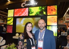 It was very busy at the new booth of Montreal-based Canadawide. Pictured are Jessica Dubé and George Pitsikoulis.
