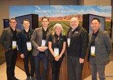 The team of the Wonderful Company stand in front of the display that tells the story about the companys vertical integration. From left to right: Lindsey Abrahams, Michael Catalano, Jonathan Popham, Julie Trepanier, David Anthony and Jez Balsa.