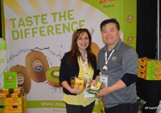 Debbie Rogers and John Kang with Zespri North America. The company is growing its presence in North America. This year, Sobeys Ontario will start selling SunGold kiwifruit while the retailers Quebec stores offer it already.