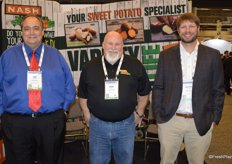 Promoting North Carolina sweet potatoes are Jim Young, Don Sparks and Hunter Gibbs with Nash Produce.