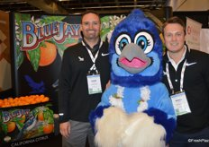 Johnston Farms is known for its Blue Jay California citrus. Pictured are John Clerou, Blue Jay mascot and Derek Vaughn. From California citrus, the company will transition into potatoes, doing business as Mazzei-Franconi Co. LLC.