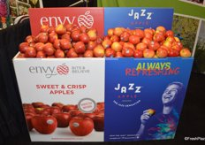 New display from Rainier Fruit. These displays are fully customizable and customers can choose the graphics. The display in the photo contains graphics of both Envy and Jazz apples in one.
