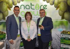 Brian Gomez, Christine Connell and Dan Acevedo with GreenFruit Avocados talk to customers about their Nature Grown organic label.