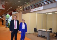 Monika Pluta and Piotr Porosa from Ewa-Bis, this is the first time the Polish apple exporter is attending Freskon, mostly to meet their clients.