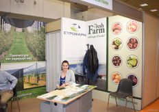 The stand for the Fresh Farms group. They export kiwis, pears, apples, cherries and peaches.